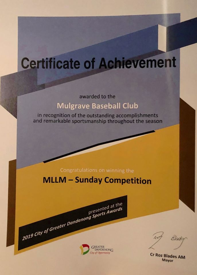 Great Achievements by Mulgrave Baseball Club – Go Rebels!